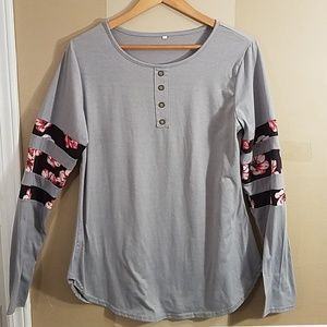Tops - Gray with black floral stripes size xl